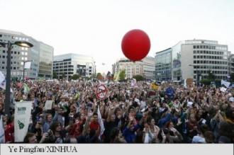 Manifestație de protest la Bruxelles împotriva tratatelor de liber-schimb transatlantice