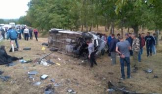 Accident grav lângă localitatea Sociteni! Un microbuz plin cu pasageri s-a răsturnat
