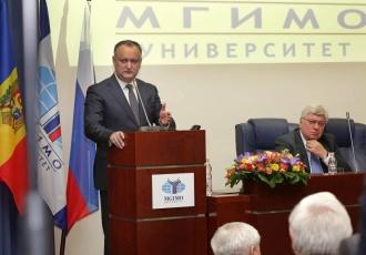 Igor Dodon a ținut un discurs în fața studenților la Institutul de Stat pentru Relaţii Internaţionale din Moscova