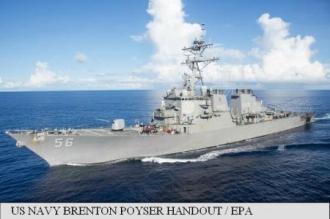 O navă militară americană a intrat în coliziune cu un vas comercial la est de Singapore; 10 marinari dispăruți
