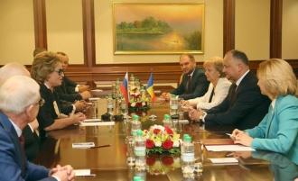 Realizarea înțelegerilor dintre Moldova și Rusia, subiect de discuție dintre Igor Dodon și Valentina Matvienko