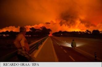 Portugalia: Număr record de incendii forestiere; 3 morți, localități evacuate, circulație întreruptă pe mai multe autostrăzi