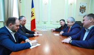 Deputatul Dumei de Stat a Rusiei, Kazbek Taisaev şi liderul Partidului Comuniştilor din regiunea transnistreană, Oleg Horjan, în vizită la Președinție