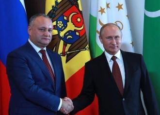 Dodon l-a felicitat pe  Putin cu prilejul Zilei Unității Naționale a Rusiei