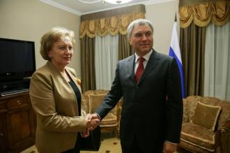 Zinaida Greceanîi a avut o întrevedere cu președintele Dumei de Stat a FR