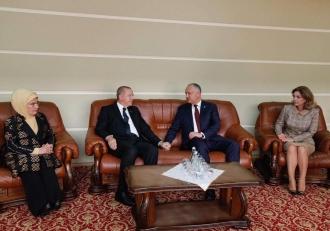 Președintele Turciei, întâmpinat de Igor Dodon și Prima Doamnă, la Aeroport