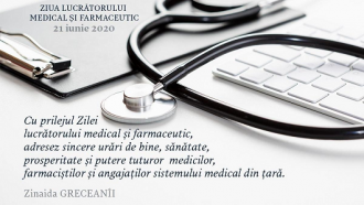 Mesajul Președintelui Parlamentului, președintele Partidului Socialiștilor Zinaida Greceanîi cu ocazia Zilei lucrătorului medical și farmaceutic