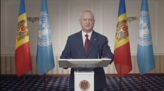 Igor Dodon la ONU: Soluționarea conflictului transnistrean trebuie să se bazeze pe inițiativele R.Moldova, dar nu pe cele elaborate în afara țării