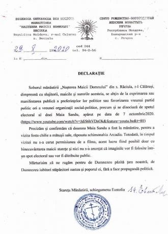Maicile de la mănăstirea Răciula, indignate: Maia Sandu și-a tras un spot electoral la mănăstire, fără ca să le anunțe