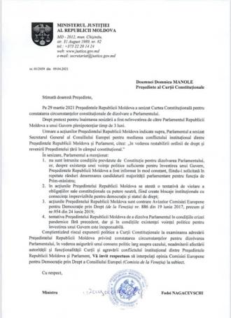 Nagacevschi îi solicită CC să interpeleze avizul Comisiei de la Veneția privind dizolvarea Parlamentului