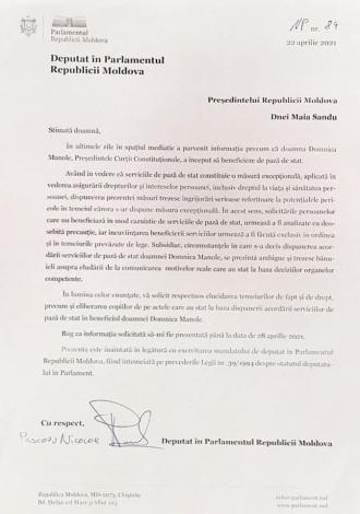 Deputat PSRM: Am cerut să fiu informat în baza căror temei a fost oferită paza de stat pentru Domnica Manole