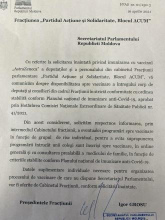 Deputații PAS cer să fie vaccinați în mod prioritar (doc)