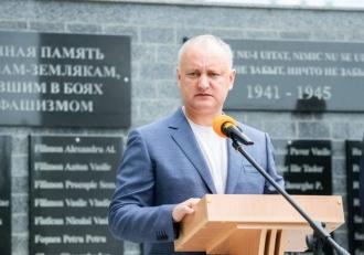 Igor Dodon a participat la inaugurare memorialului ostașilor căzuți în luptele cu fasciștii din Cornești