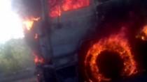 Incendiu la Căușeni; Un TIR cu anvelope a fost cuprins de flăcări